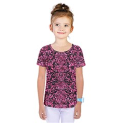 Damask2 Black Marble & Pink Marble Kids  One Piece Tee