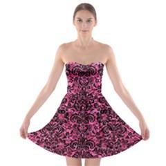 DMS2 BK-PK MARBLE (R) Strapless Bra Top Dress