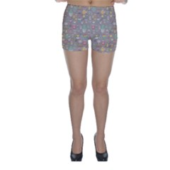 Tea Party Pattern Skinny Shorts