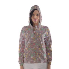 Tea Party Pattern Hooded Wind Breaker (Women)