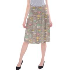 Tea Party Pattern Midi Beach Skirt
