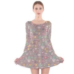 Tea Party Pattern Long Sleeve Velvet Skater Dress