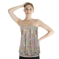 Tea Party Pattern Strapless Top