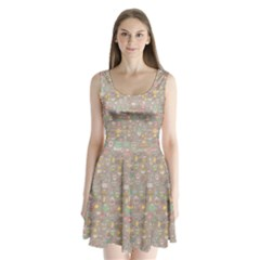 Tea Party Pattern Split Back Mini Dress