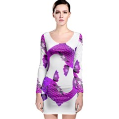 Koi Carp Fish Water Japanese Pond Long Sleeve Bodycon Dress