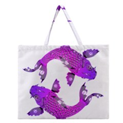Koi Carp Fish Water Japanese Pond Zipper Large Tote Bag