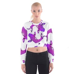 Koi Carp Fish Water Japanese Pond Women s Cropped Sweatshirt