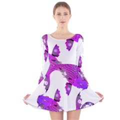 Koi Carp Fish Water Japanese Pond Long Sleeve Velvet Skater Dress