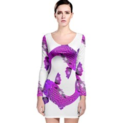 Koi Carp Fish Water Japanese Pond Long Sleeve Velvet Bodycon Dress