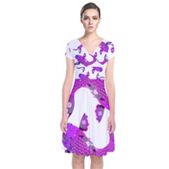 Koi Carp Fish Water Japanese Pond Short Sleeve Front Wrap Dress