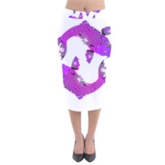 Koi Carp Fish Water Japanese Pond Velvet Midi Pencil Skirt