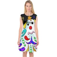Candy man` Capsleeve Midi Dress