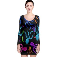 Colorful octopuses pattern Long Sleeve Bodycon Dress