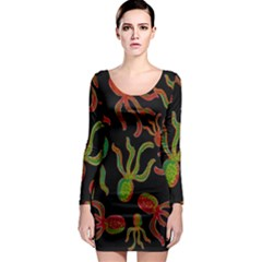 Octopuses pattern 4 Long Sleeve Bodycon Dress