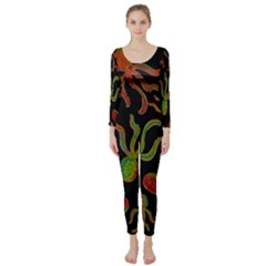 Octopuses pattern 4 Long Sleeve Catsuit