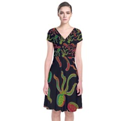 Octopuses pattern 4 Short Sleeve Front Wrap Dress