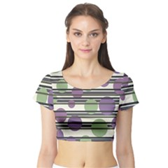Purple and green elegant pattern Short Sleeve Crop Top (Tight Fit)