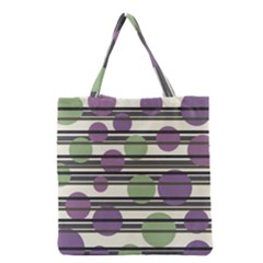 Purple and green elegant pattern Grocery Tote Bag