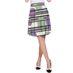 Purple and green elegant pattern A-Line Skirt