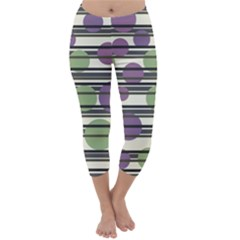 Purple and green elegant pattern Capri Winter Leggings