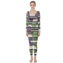 Purple and green elegant pattern Long Sleeve Catsuit