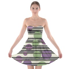 Purple and green elegant pattern Strapless Bra Top Dress