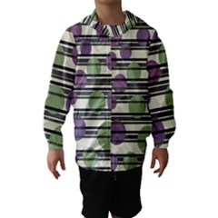 Purple and green elegant pattern Hooded Wind Breaker (Kids)