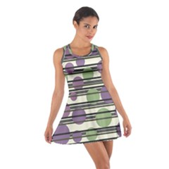 Purple and green elegant pattern Cotton Racerback Dress