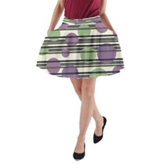Purple and green elegant pattern A-Line Pocket Skirt
