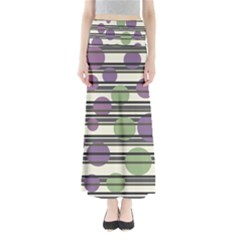 Purple And Green Elegant Pattern Maxi Skirts