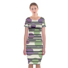 Purple and green elegant pattern Classic Short Sleeve Midi Dress