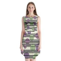 Purple and green elegant pattern Sleeveless Chiffon Dress