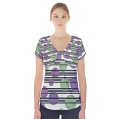 Purple and green elegant pattern Short Sleeve Front Detail Top