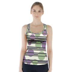 Purple and green elegant pattern Racer Back Sports Top