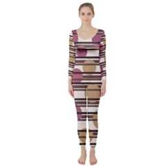 Simple decorative pattern Long Sleeve Catsuit