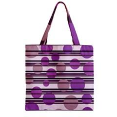 Purple simple pattern Zipper Grocery Tote Bag