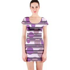 Purple simple pattern Short Sleeve Bodycon Dress
