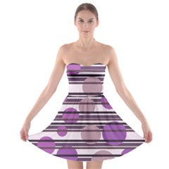 Purple simple pattern Strapless Bra Top Dress