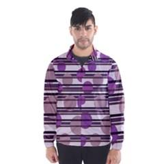 Purple simple pattern Wind Breaker (Men)