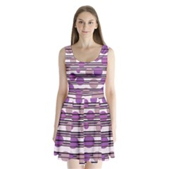 Purple simple pattern Split Back Mini Dress