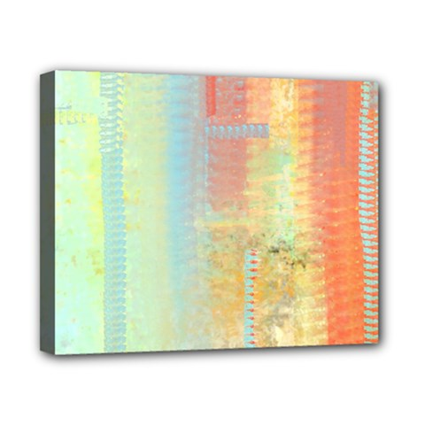 Unique abstract in green, blue, orange, gold Canvas 10  x 8