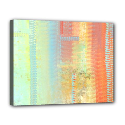 Unique Abstract In Green, Blue, Orange, Gold Canvas 14  X 11
