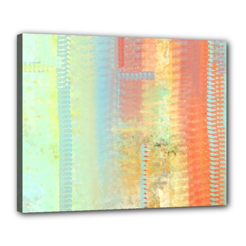 Unique Abstract In Green, Blue, Orange, Gold Canvas 20  X 16