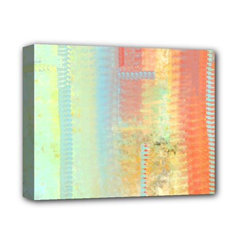 Unique abstract in green, blue, orange, gold Deluxe Canvas 14  x 11