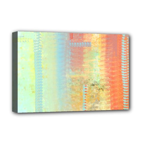 Unique abstract in green, blue, orange, gold Deluxe Canvas 18  x 12