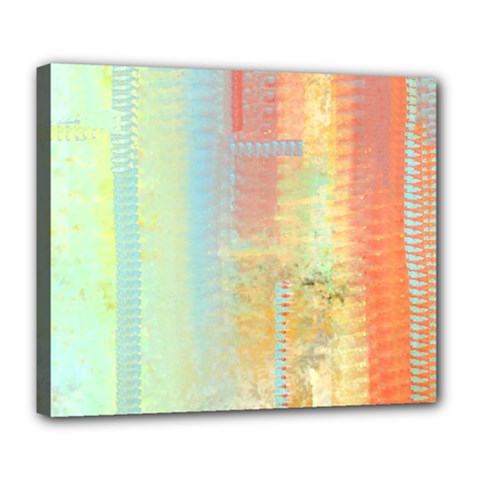 Unique Abstract In Green, Blue, Orange, Gold Deluxe Canvas 24  X 20