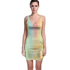 Unique abstract in green, blue, orange, gold Sleeveless Bodycon Dress