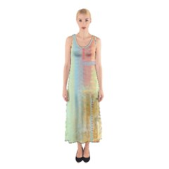 Unique abstract in green, blue, orange, gold Sleeveless Maxi Dress