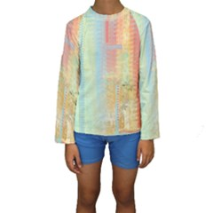 Unique abstract in green, blue, orange, gold Kids  Long Sleeve Swimwear