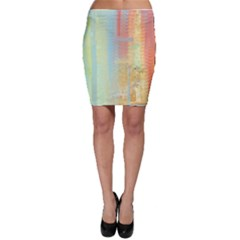 Unique abstract in green, blue, orange, gold Bodycon Skirt